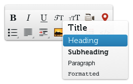 Text styling toolbar in Edicy